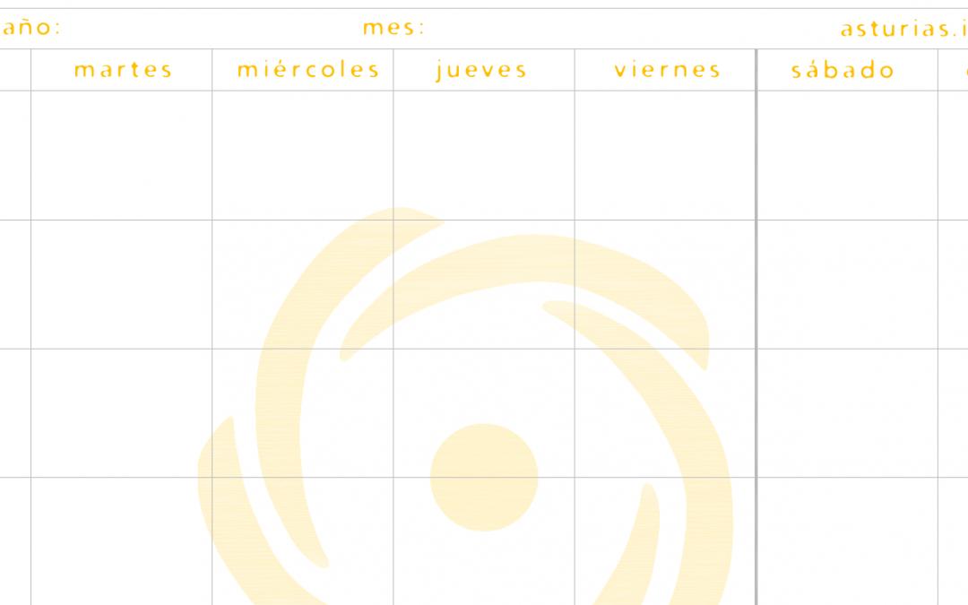 Descarga gratis la plantilla de calendario mensual de ISF Asturias