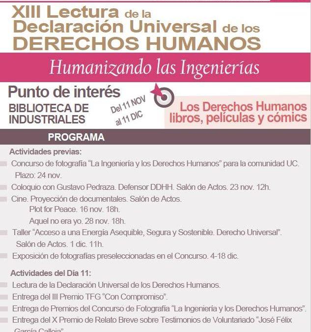 El 11 de diciembre ISF Cantabria participará en la XIII Lectura de los Derechos Humanos