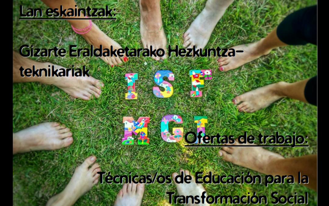 Ofertas de trabajo: 2 técnicos/as de Educación para la Transformación Social