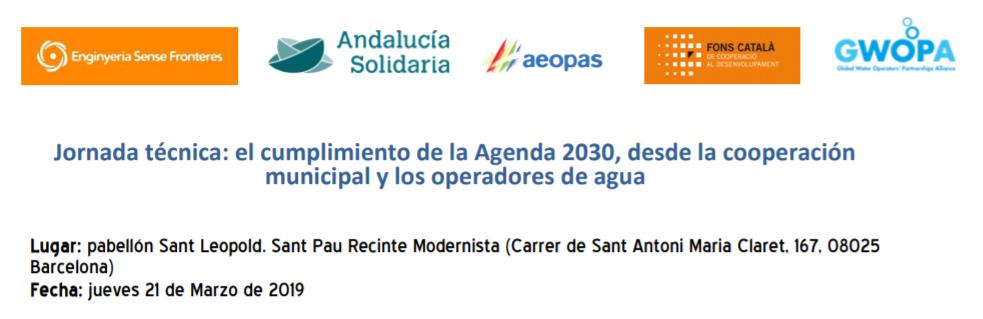Jornada tècnica: el compliment de l'Agenda 2030, des de la cooperació municipal i els operadors d'aigua
