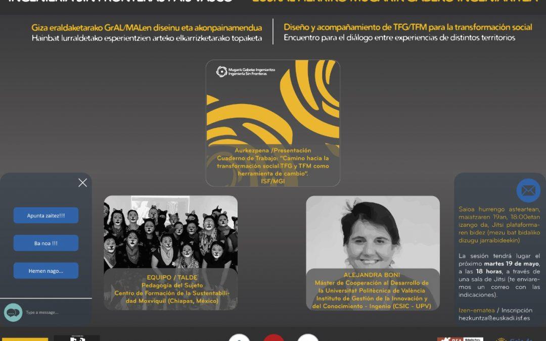 Diseño y acompañamiento de TFG/TFM para la transformación social. Encuentro para el diálogo entre experiencias de distintos territorios