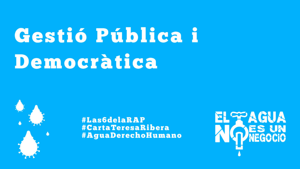 La Red Pública de Agua (RAP) reclama la gestió pública de l'abastament i sanejament d'aigua a la ministra Teresa Ribera