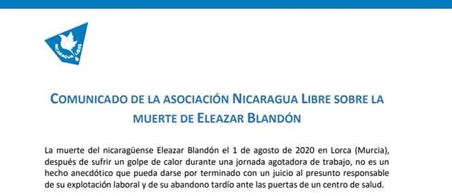 Apoiamos o comunicado sobre a morte de Eleazar Blandón. Non deixar a ninguén atrás!!