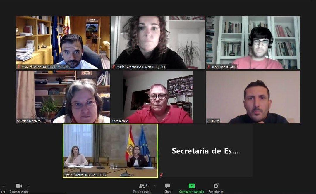 La sociedad civil exigimos en una reunión con la Ministra Teresa Ribera medidas urgentes para evitar la oleada de cortes de suministro que se avecina