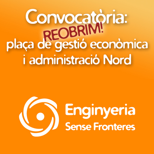 Reobrim convocatòria: Tècnic/a de gestió de gestió econonòmica i administració de projectes Nord