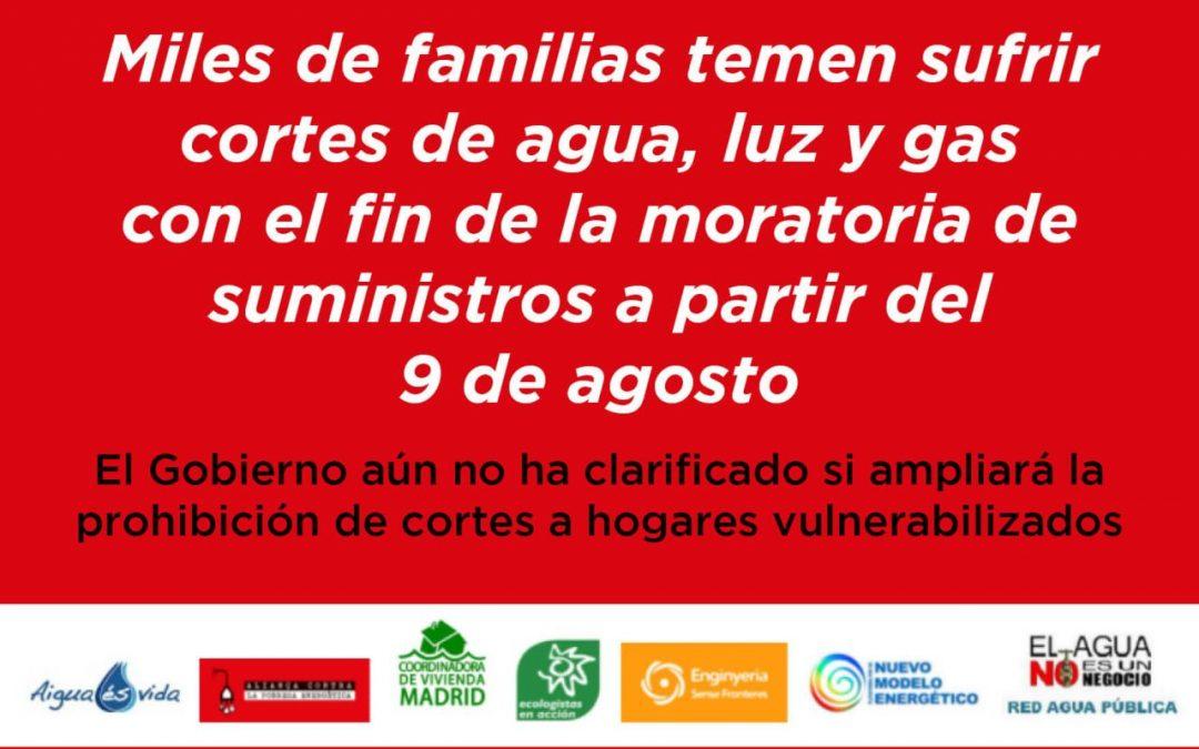 Comunicado: Miles de familias temen sufrir cortes de agua, luz y gas con el fin de la moratoria de suministros a partir del 9 de agosto