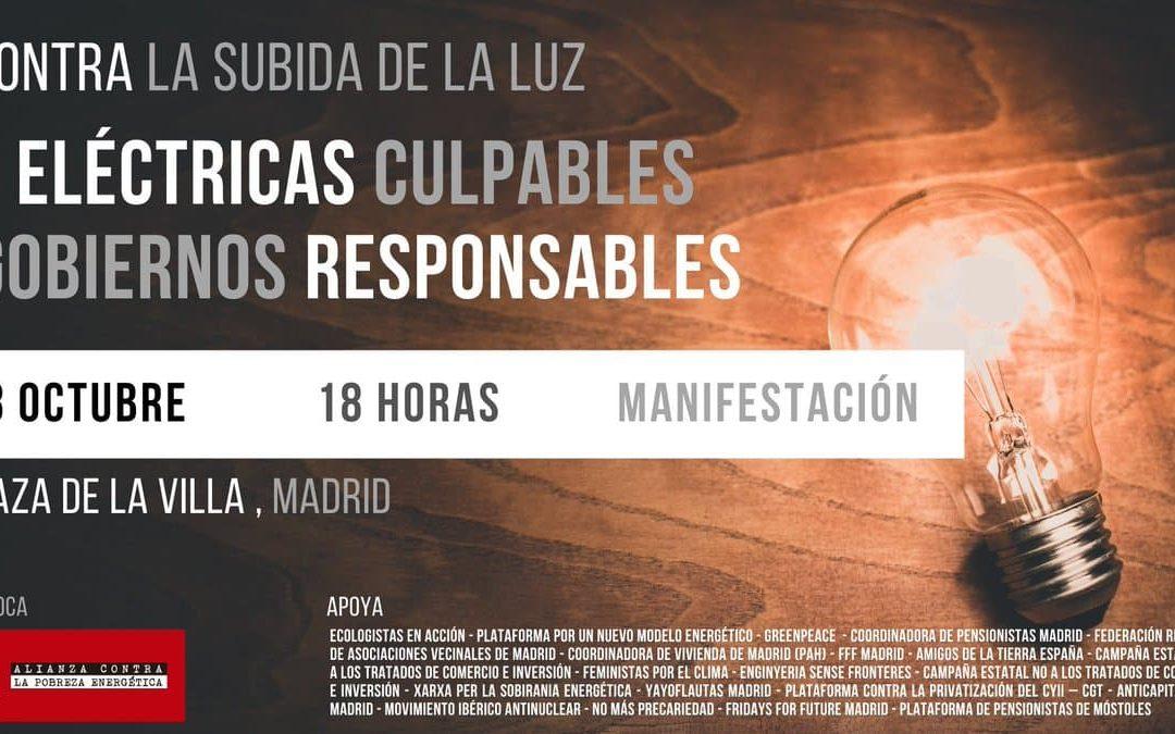 Manifest contra la pujada de la llum: Elèctriques culpables, governs responsables!